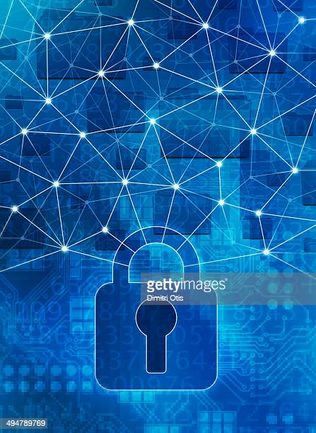 lock protecting computer network - lock stock illustrations
