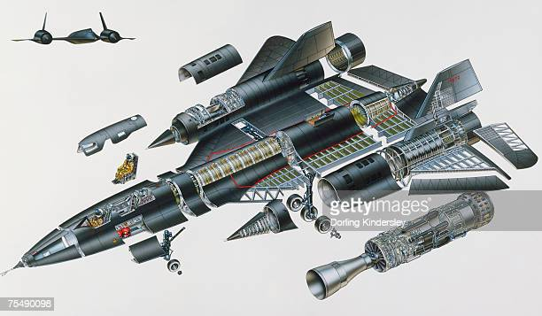 Lockheed SR-71, high-tech military jet aircraft, also known as Blackbird, expanded cross-section, elevated view