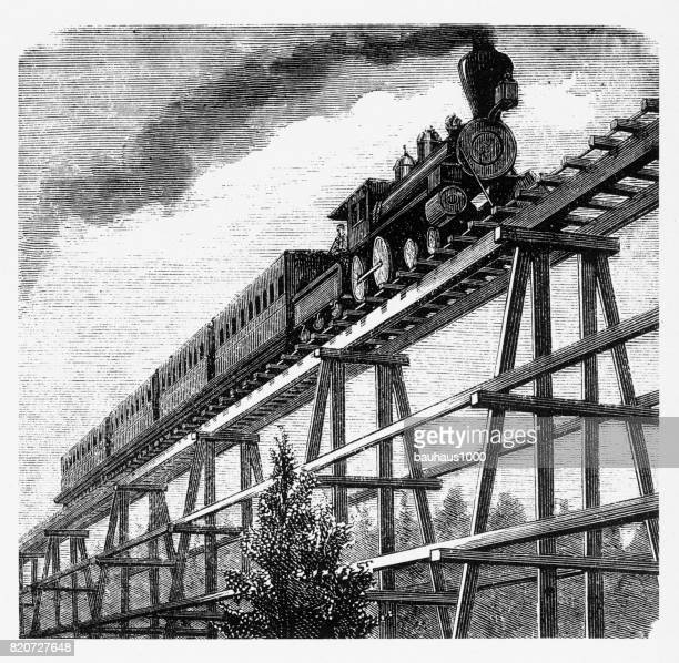 Locomotive Crossing a Tressel Bridge, Pan Pacific Railway Engraving, 1877