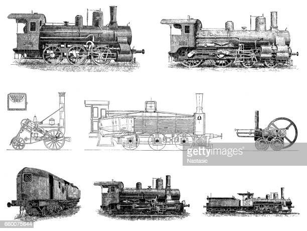 locomotive set - boiler stock illustrations, clip art, cartoons, & icons