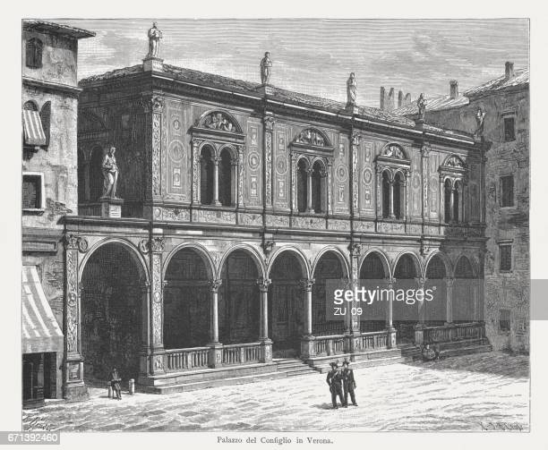 lodge of consiglio in verona, italy wood engraving, published 1884 - consiglio stock illustrations