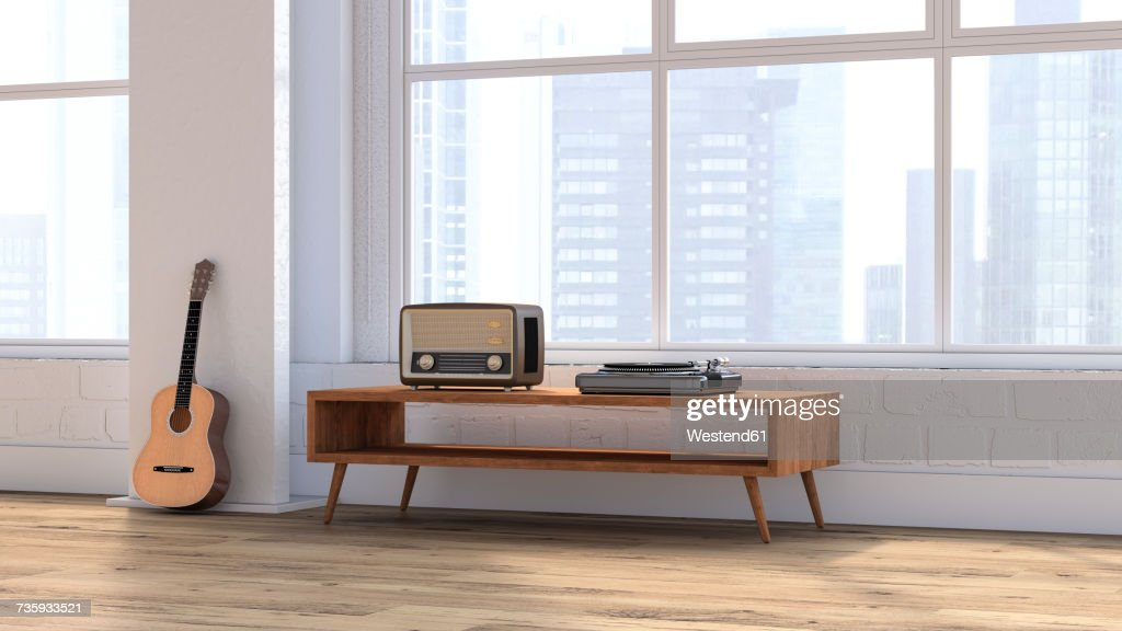 Loft with guitar, radio and record player on sideboard, 3D rendering : Ilustración de stock