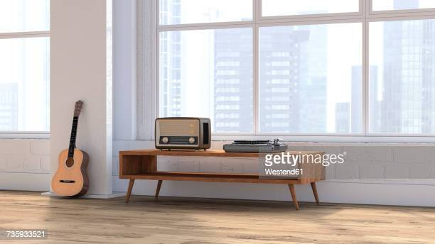 Loft with guitar, radio and record player on sideboard, 3D rendering