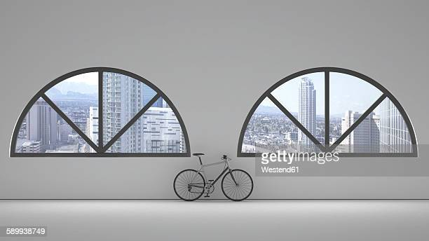 loft with two round arch windows and bicycle leaning on the wall, 3d rendering - loft apartment stock illustrations, clip art, cartoons, & icons