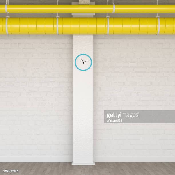 Loft with wall clock and yellow ventilation pipe, 3D Rendering