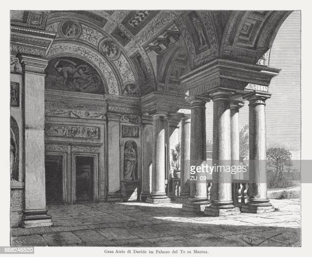 Loggia of David, Palazzo del Te, Mantua, Italy, wood engraving, published in 1884