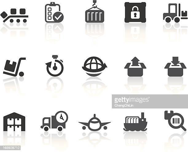 logistics icons | simple black series - rail freight stock illustrations, clip art, cartoons, & icons