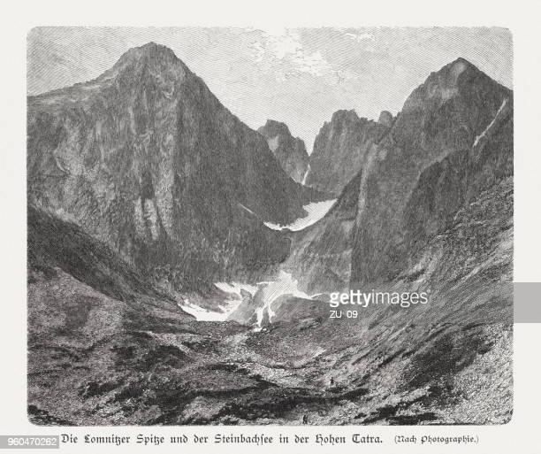 ilustraciones, imágenes clip art, dibujos animados e iconos de stock de lomnica pico (lomnický štít), montañas de tatra, eslovaquia, publicado 1897 - valle