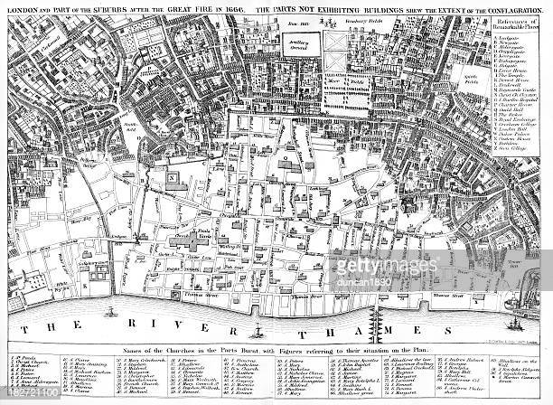 london after the great fire - 17th century stock illustrations, clip art, cartoons, & icons