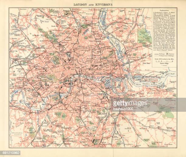 Carte historique de Londres et ses Environs, gravure, 1892