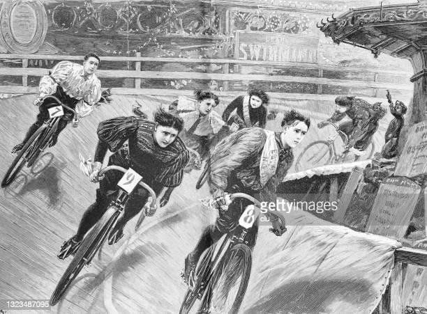 ilustrações de stock, clip art, desenhos animados e ícones de london aquarium velodrome, women's cycling competition - roupa de mulher
