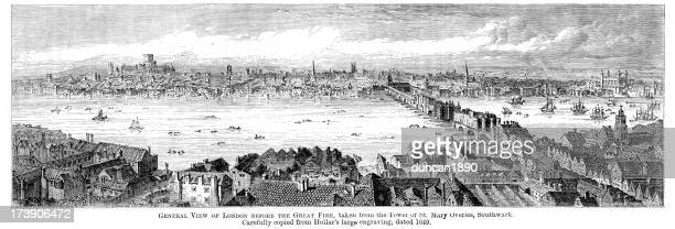 london before the great fire - 17th century stock illustrations, clip art, cartoons, & icons