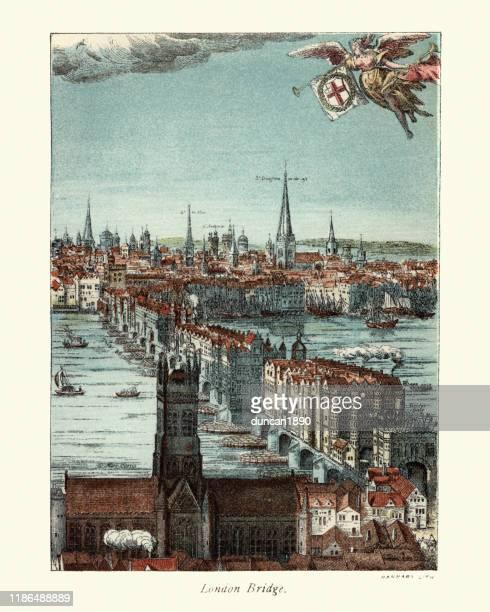 ロンドン橋、17世紀、その上に建てられた家々 - セントラル・ロンドン点のイラスト素材/クリップアート素材/マンガ素材/アイコン素材