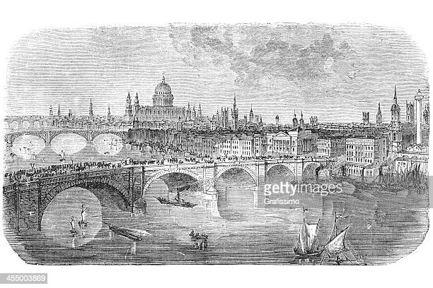 london bridge engraving from 1872 - 18th century stock illustrations