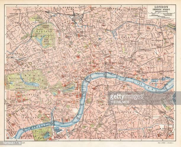 london city map 1895 - greenwich london stock illustrations