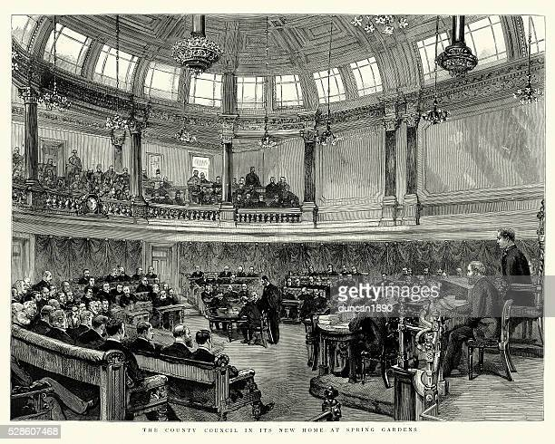 london county council in the county hall spring gardens 1890 - capital cities stock illustrations
