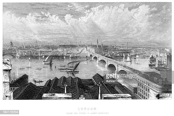 london from the tower of saint saviour's - 19th century stock illustrations, clip art, cartoons, & icons