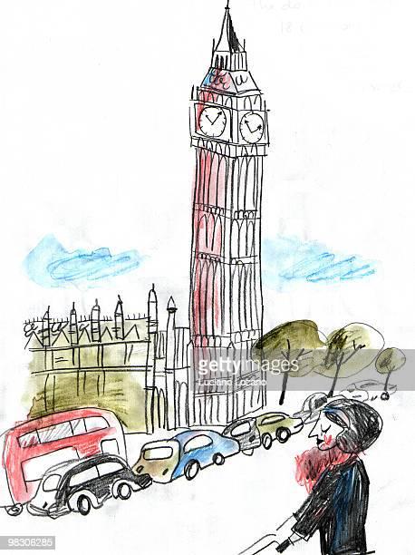 london - traffic stock illustrations