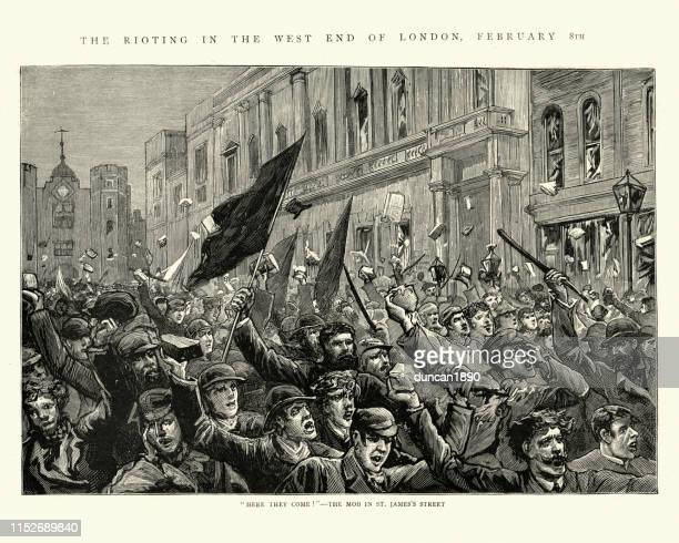 london riots, 1886, mob of rioters in st james's street - socialism stock illustrations