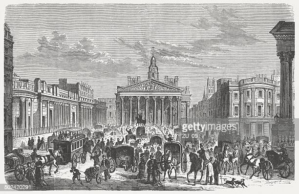 london, royal exchange in 19th century, wood engraving, published 1880 - industrial revolution stock illustrations
