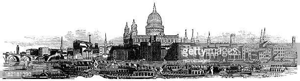 London skyline 1877, St Paul's Cathedral illustration, Illustrated London-News