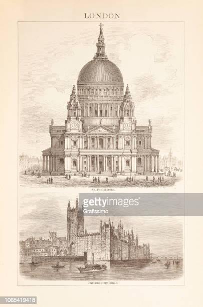 ロンドン セント ・ ポール大聖堂やウェストミン スター図 1885 の宮殿 - セントポール大聖堂点のイラスト素材/クリップアート素材/マンガ素材/アイコン素材