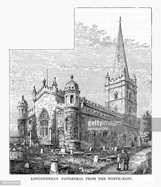 londonderry cathedral, londonderry, derry, donegal, northern ireland, victorian engraving, 1840 - derry township stock illustrations, clip art, cartoons, & icons