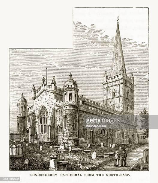 ilustrações, clipart, desenhos animados e ícones de catedral de londonderry, londonderry, derry, donegal, irlanda do norte, gravura vitoriana, 1840 - spire