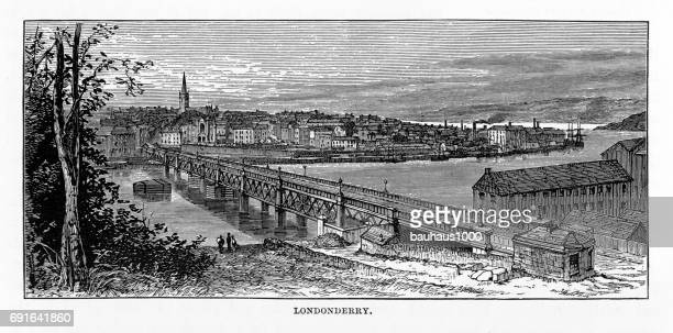 Londonderry, Derry, Donegal, Northern Ireland, Victorian Engraving, 1840