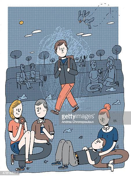 a lone person walking among groups of people - lying on back stock illustrations, clip art, cartoons, & icons