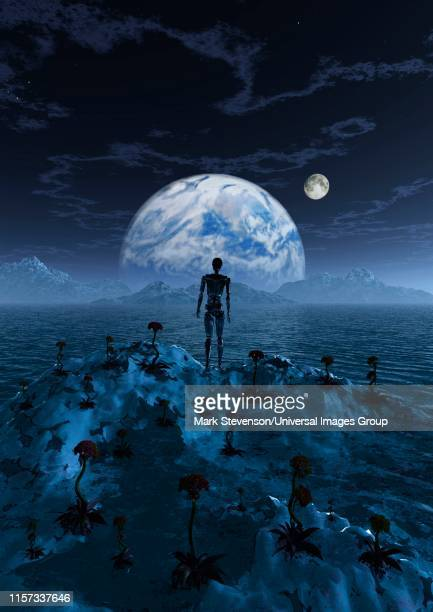 lone robot standing on an alien world - ancient civilization stock illustrations