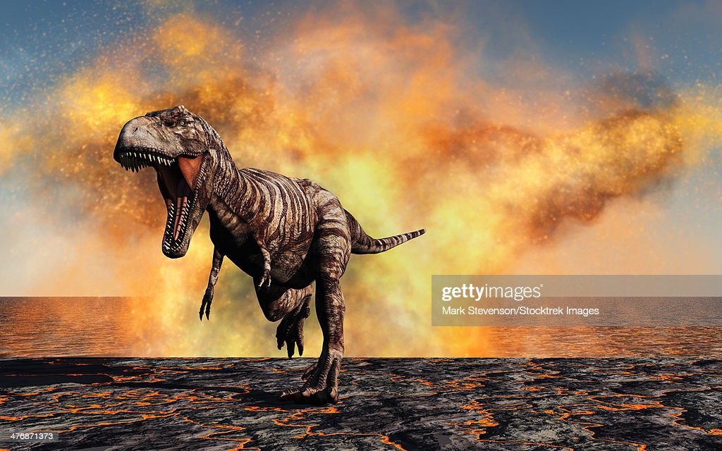 A lone Tyrannosaurus Rex dinosaur on the run from a violent fire storm during the Cretaceous period. : stock illustration