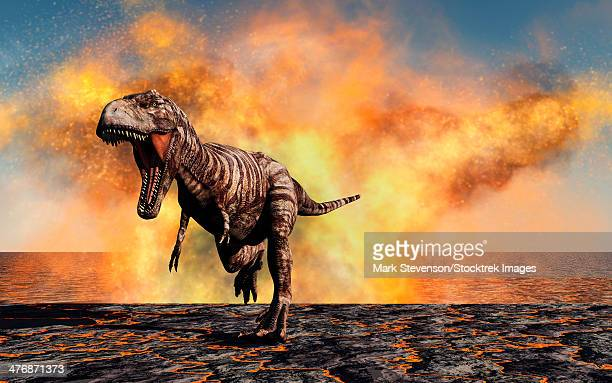 A lone Tyrannosaurus Rex dinosaur on the run from a violent fire storm during the Cretaceous period.