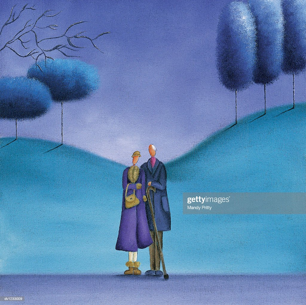 Lonely Elderly Couple Standing Together : Ilustración de stock