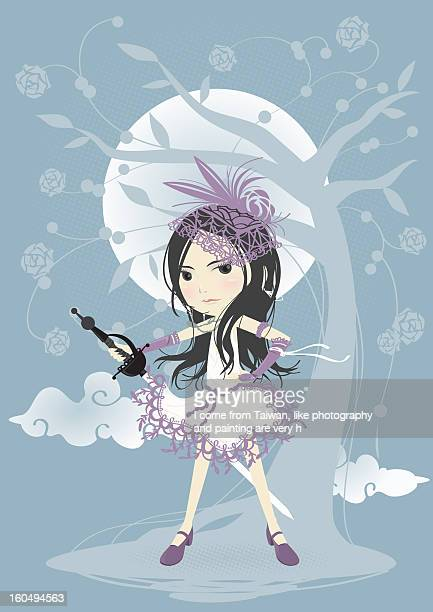 lonely knight... - one girl only stock illustrations, clip art, cartoons, & icons