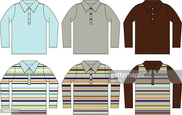 Long Sleeved Polo Shirt in Plain & Striped Options