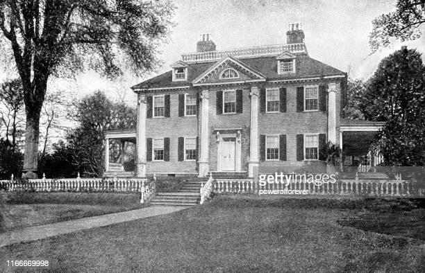 ロングフェローハウスワシントン本社(米国マサチューセッツ州ケンブリッジ) - 19世紀 - ジョージア調点のイラスト素材/クリップアート素材/マンガ素材/アイコン素材