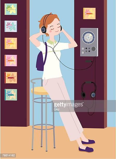 ilustraciones, imágenes clip art, dibujos animados e iconos de stock de looking and listening, illustrative technique - mujer escuchando musica