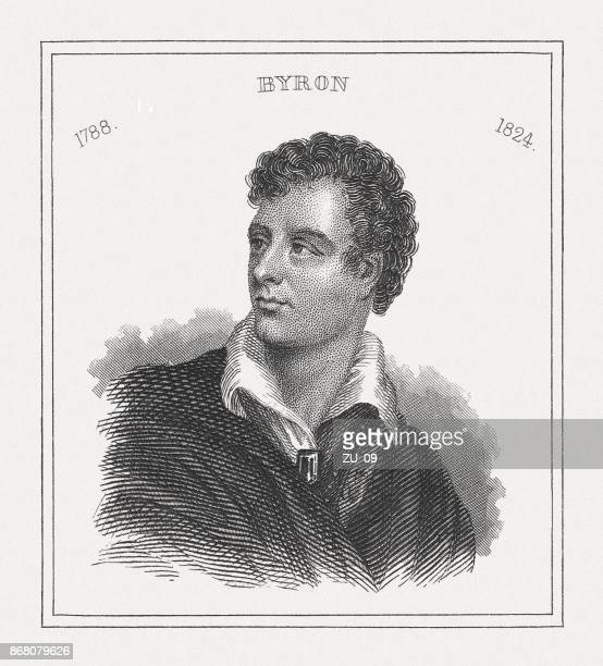 lord byron (1788-1824), british poet, steel engraving, published in 1843 - poetry literature stock illustrations