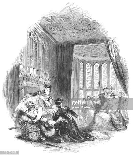 """lord chamberlain's men performing """"the merry wives of windsor"""" for elizabeth i, queen of england - windsor castle stock illustrations"""