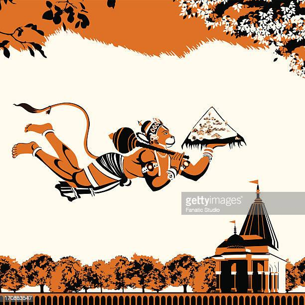 lord hanuman flying with dronagiri mountain - hinduism stock illustrations
