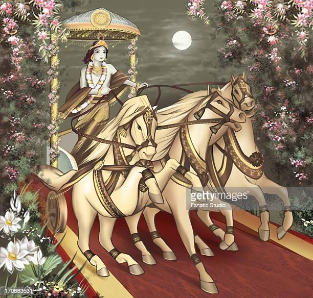 lord krishna riding a chariot - lord krishna stock illustrations