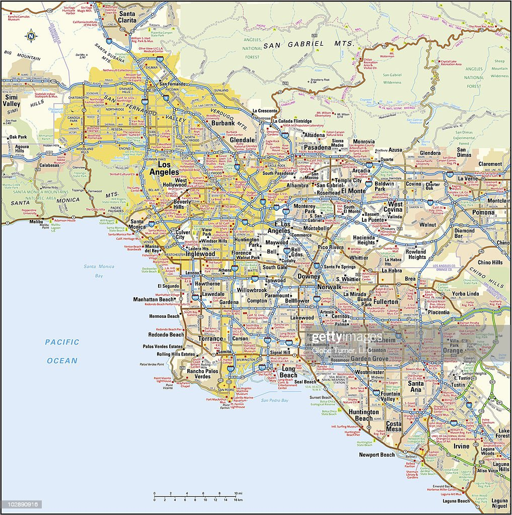 Los Angeles California Area Map Vector Art Getty Images