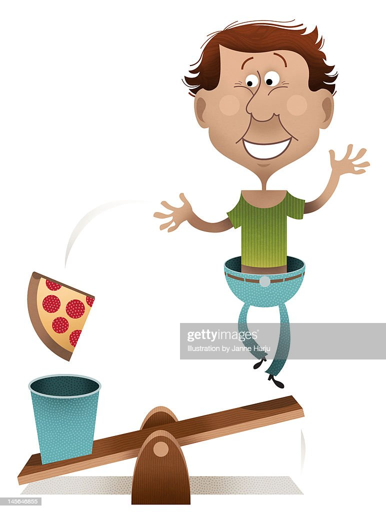Losing weight see-saw : Stock Illustration