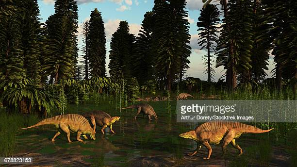 bildbanksillustrationer, clip art samt tecknat material och ikoner med lotosaurus, an early triassic reptile of china, dig for clams in a tidal swamp. - paleolitico