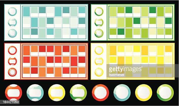 lottery tickets and bingo balls - bingo stock illustrations