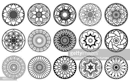 Lotus Flowers Circle Design Stock Illustration