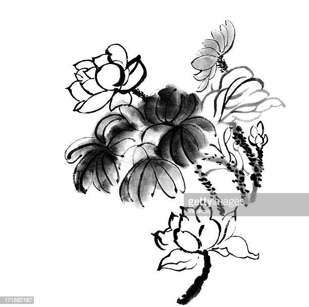 lotus - japanese language stock illustrations, clip art, cartoons, & icons
