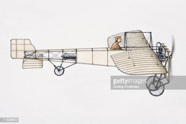 Louis Bleriot's 1909 aircraft, side view.