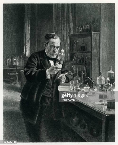 Louis Pasteur in his lab engraving 1894